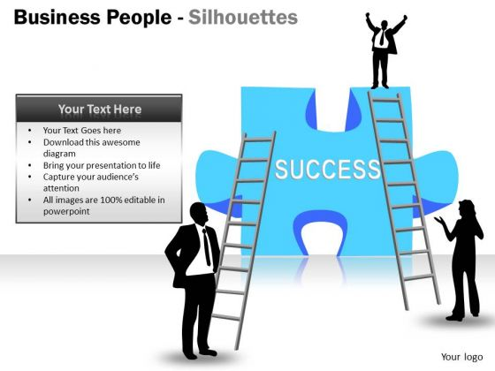 Business Framework Model Business People Silhouettes Marketing Diagram