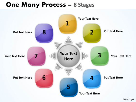 Business Framework Model Circle One Many Process 8 Stages Consulting Diagram
