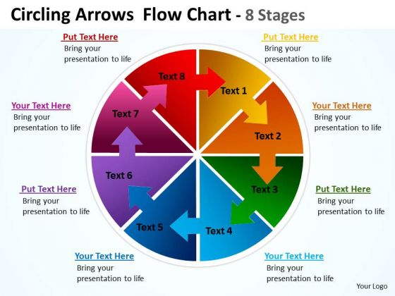 Business Framework Model Circling Arrows Chart 8 Stages Business Diagram