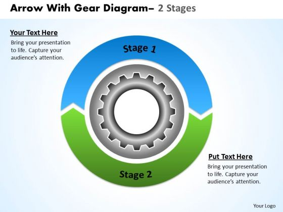 Business Framework Model Circular Arrows With Gears 2 Stages Strategy Diagram