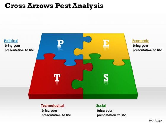 Business Framework Model Cross Arrows Pest Analysis Marketing Diagram