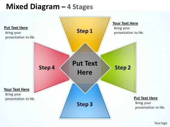 Business Framework Model Designer Mixed Diagram With 4 Stages Consulting Diagram