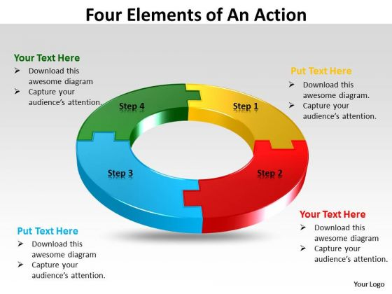 Business Framework Model Four Elements Of An Templates Action Sales Diagram