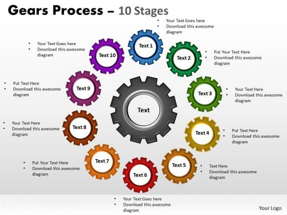 Business Framework Model Gears Process 10 Stages Marketing Diagram