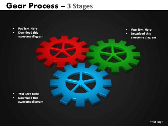 Business Framework Model Gears Process 3 Stages Consulting Diagram
