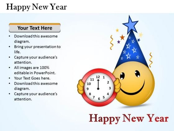 Business Framework Model Happy New Year Strategy Diagram