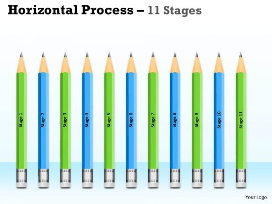 Business Framework Model Horizontal Process 11 Stages Marketing Diagram