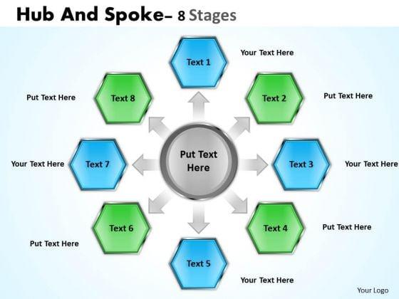 Business Framework Model Hub And Spoke 8 Stages Sales Diagram