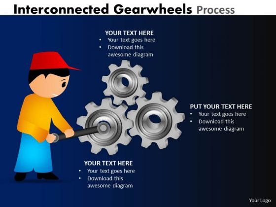 Business Framework Model Interconnected Gearwheels Process Strategy Diagram
