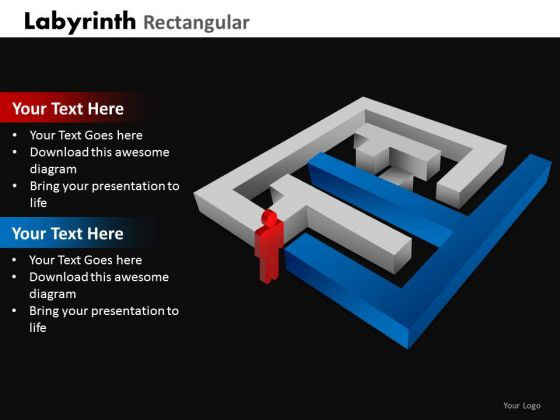 Business Framework Model Labyrinth Rectangular Marketing Diagram