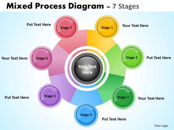 Business Framework Model Mixed Process Diagram 7 Stages For Sales Consulting Diagram