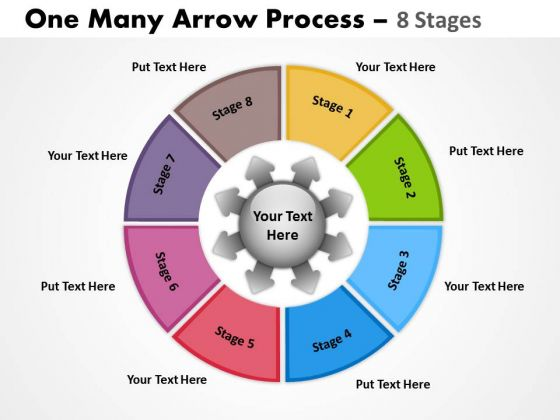 Business Framework Model One Many Arrow Process 8 Stages Consulting Diagram