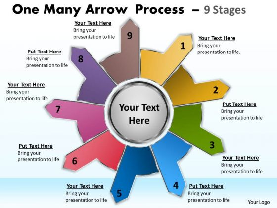 Business Framework Model One Many Arrow Process 9 Stages Marketing Diagram