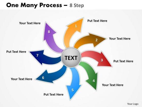 Business Framework Model One Many Process 8 Steps Strategy Diagram