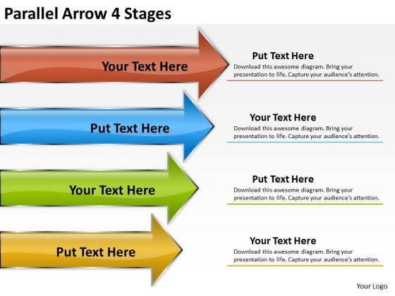 Business Framework Model Parallel Arrow 4 Stages Business Finance Strategy Development