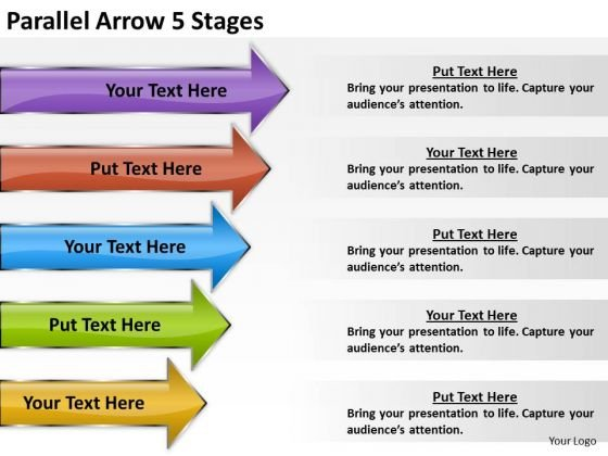 Business Framework Model Parallel Arrow 5 Stages Sales Diagram