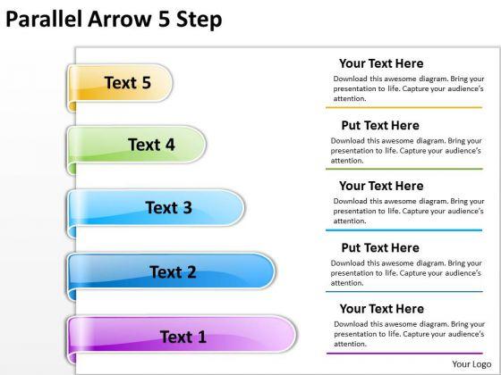Business Framework Model Parallel Arrow 5 Step Strategy Diagram