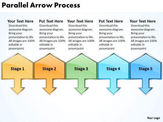 Business Framework Model Parallel Arrow Process Strategy Diagram