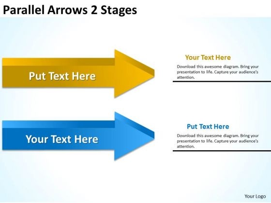 Business Framework Model Parallel Arrows 2 Stages Sales Diagram