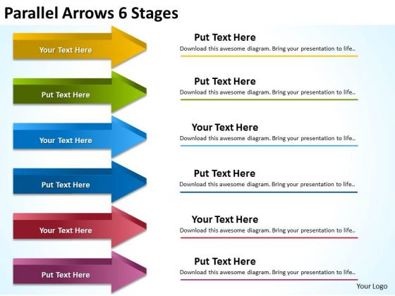 Business Framework Model Parallel Arrows 6 Stages Consulting Diagram