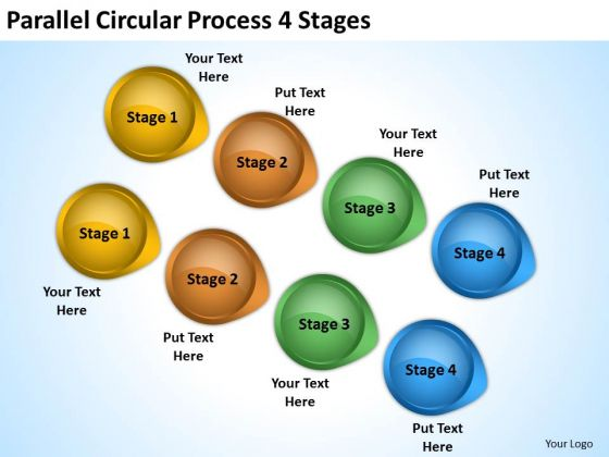 Business Framework Model Parallel Circular Process 4 Stages Business Finance Strategy Development