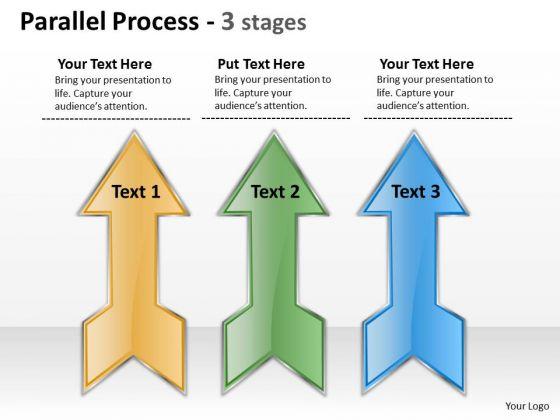 Business Framework Model Parallel Process 3 Stages Business Diagram
