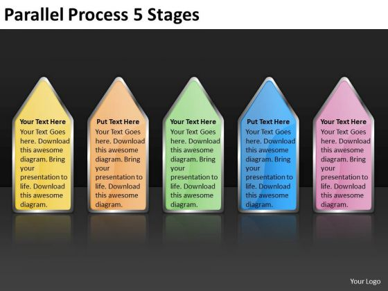 Business Framework Model Parallel Process 5 Stages Strategy Diagram