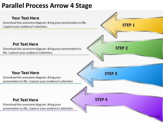 Business Framework Model Parallel Process Arrow 4 Stage Strategic Management
