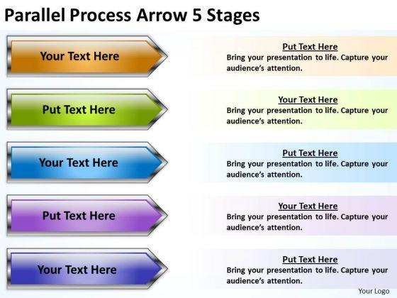 Business Framework Model Parallel Process Arrow 5 Stages Sales Diagram