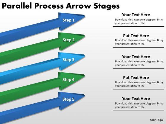 Business Framework Model Parallel Process Arrow Stages Marketing Diagram