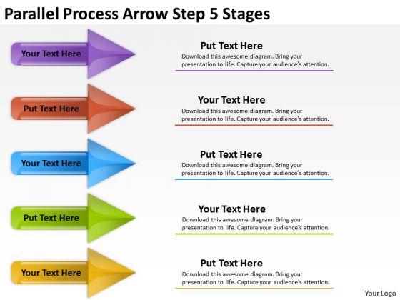 Business Framework Model Parallel Process Arrow Step 5 Stages Sales Diagram