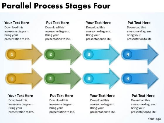 Business Framework Model Parallel Process Stages Four Sales Diagram