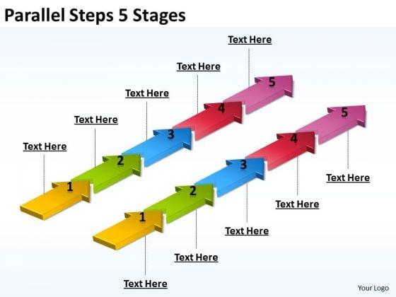 Business Framework Model Parallel Steps 5 Stages Sales Diagram