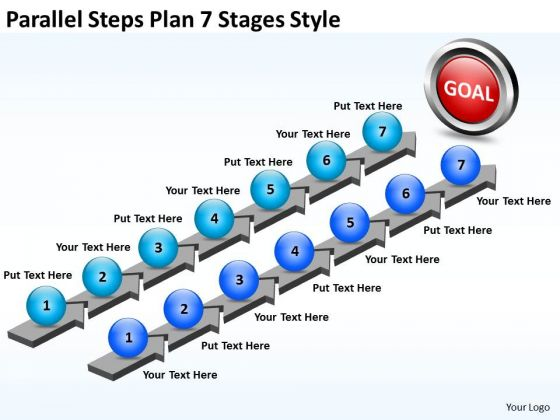 Business Framework Model Parallel Steps Plan 7 Stages Style Strategic Management