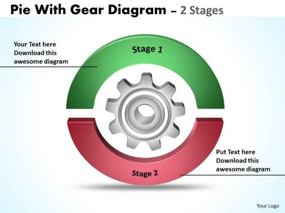 Business Framework Model Pie With Gear Diagram 2 Stages Business Cycle Diagram