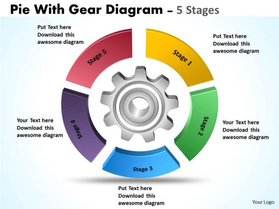 Business Framework Model Pie With Gear Diagram 5 Stages Marketing Diagram