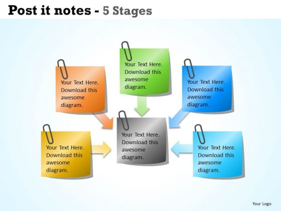 Business Framework Model Post It Notes 5 Stages Marketing Diagram