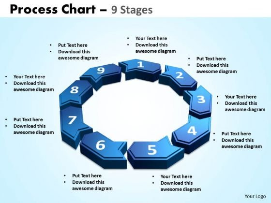 Business Framework Model Process Chart 9 Stages Business Diagram