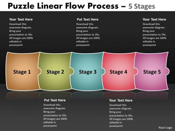 Business Framework Model Puzzle Linear Flow Process 5 Stages Sales Diagram