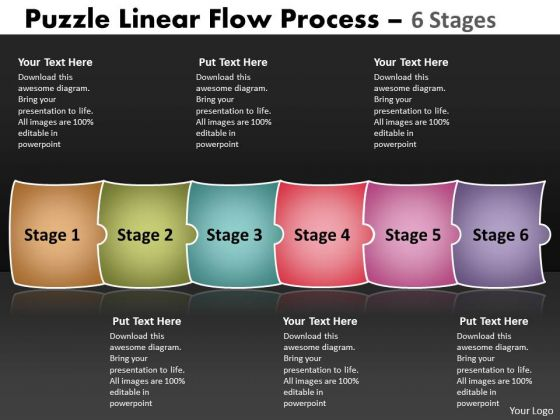 Business Framework Model Puzzle Linear Flow Process 6 Stages Business Diagram