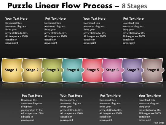 Business Framework Model Puzzle Linear Flow Process 8 Stages Sales Diagram