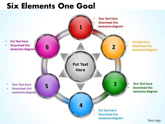 Business Framework Model Six Elements Diagrams One Goal Sales Diagram