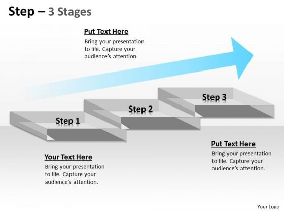 Business Framework Model Step Diagram With 3 Stages And Growth Arrow Sales Diagram