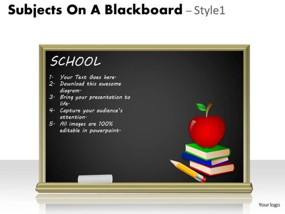 Business Framework Model Subjects On A Blackboard Marketing Diagram