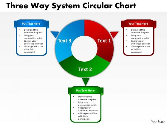 Business Framework Model Three Way System Circular Chart Strategy Diagram