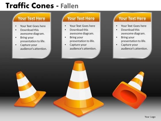 Business Framework Model Traffic Cones Fallen Sales Diagram