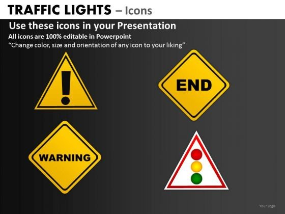 Business Framework Model Traffic Lights Icons Strategy Diagram