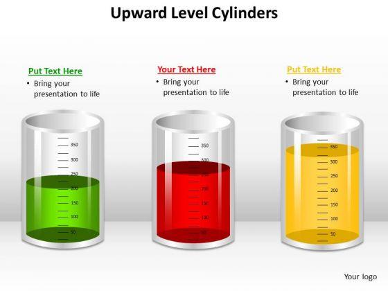 Business Framework Model Upward Level Cylinders Strategy Diagram