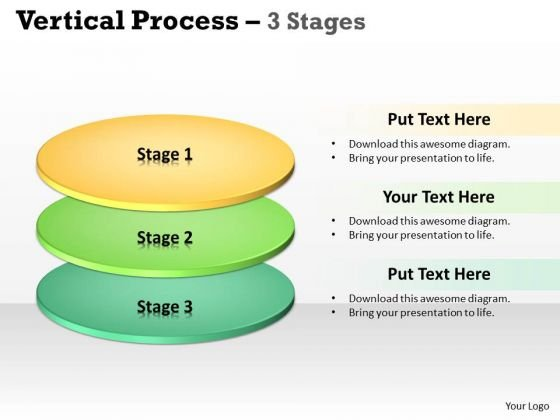 Business Framework Model Vertical Process 3 Stages Strategy Diagram