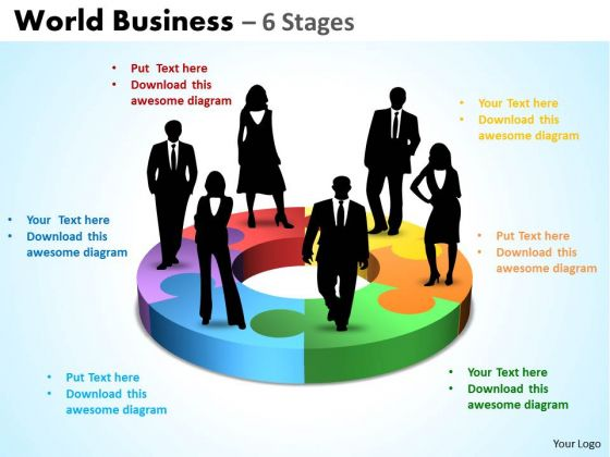 Business Framework Model World Diagram Business 6 Stages Sales Diagram